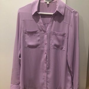 Purple button down with 2 pockets long sleeve